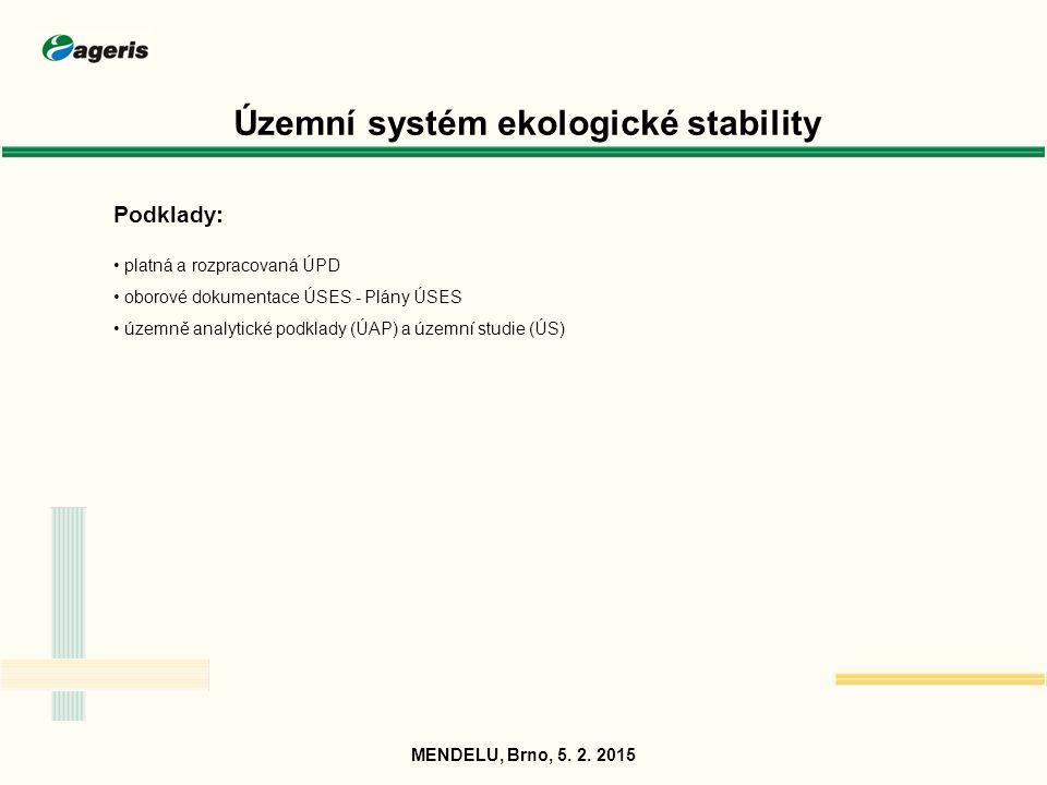 Územní systém ekologické stability Podklady: platná a rozpracovaná ÚPD oborové dokumentace ÚSES - Plány ÚSES územně analytické podklady (ÚAP) a územní