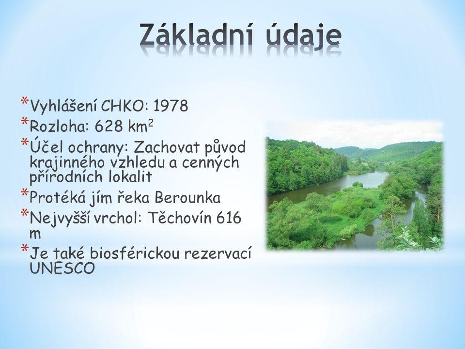 * Vyhlášení CHKO: 1978 * Rozloha: 628 km 2 * Účel ochrany: Zachovat původ krajinného vzhledu a cenných přírodních lokalit * Protéká jím řeka Berounka