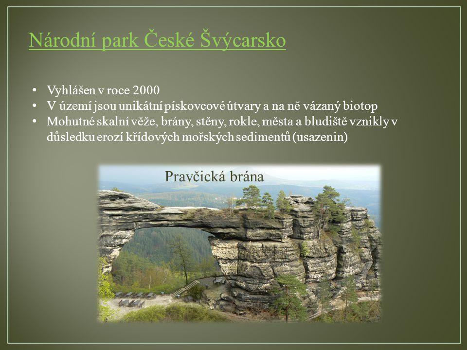 Národní park České Švýcarsko Pravčická brána Vyhlášen v roce 2000 V území jsou unikátní pískovcové útvary a na ně vázaný biotop Mohutné skalní věže, brány, stěny, rokle, města a bludiště vznikly v důsledku erozí křídových mořských sedimentů (usazenin)
