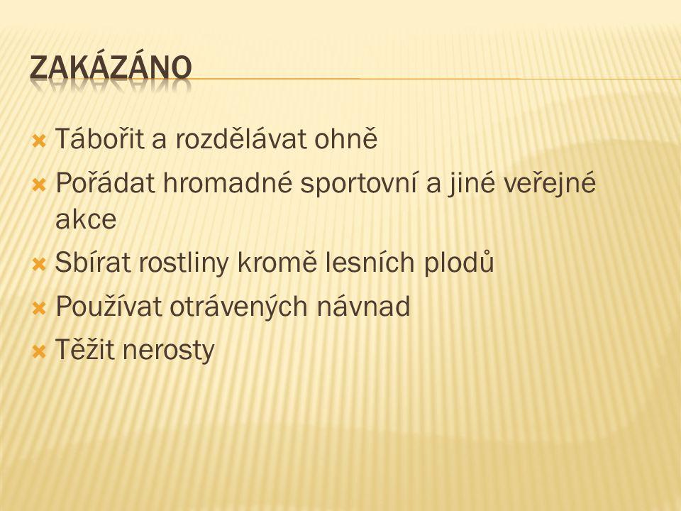  Jmenujte alespoň jednu možnost označení chráněného území ČR  Co je zakázáno.