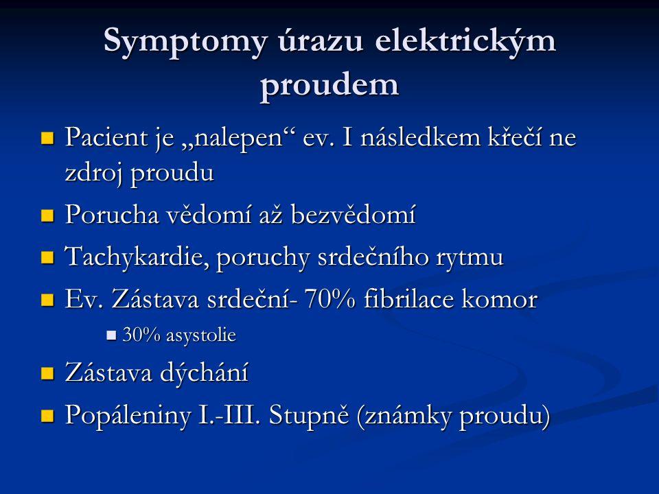 """Symptomy úrazu elektrickým proudem Pacient je """"nalepen ev."""