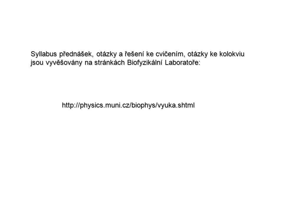 http://physics.muni.cz/biophys/vyuka.shtml Syllabus přednášek, otázky a řešení ke cvičením, otázky ke kolokviu jsou vyvěšovány na stránkách Biofyzikál