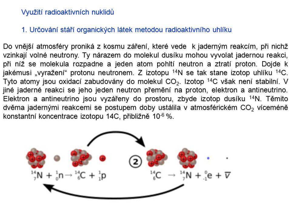 Využití radioaktivních nuklidů 1. Určování stáří organických látek metodou radioaktivního uhlíku Do vnější atmosféry proniká z kosmu záření, které ved