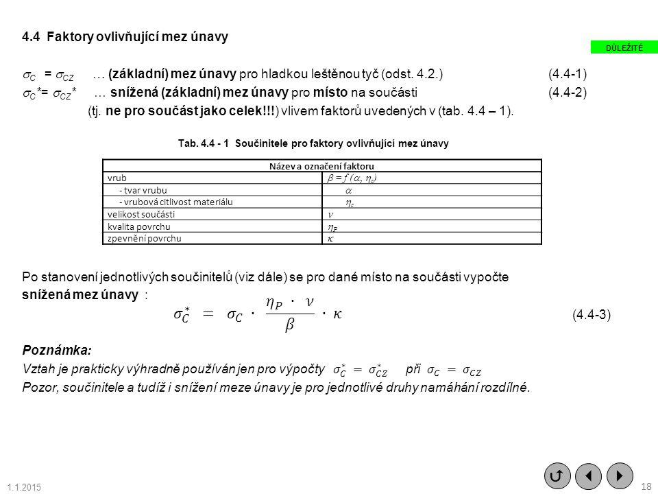 Tab. 4.4 - 1 Součinitele pro faktory ovlivňující mez únavy Název a označení faktoru vrub  = f (  c ) - tvar vrubu  - vrubová citlivost ma