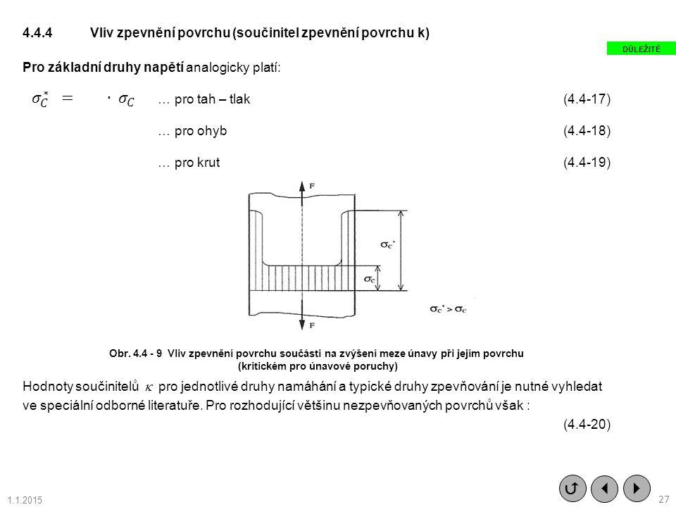 4.4.4Vliv zpevnění povrchu (součinitel zpevnění povrchu k) Pro základní druhy napětí analogicky platí: … pro tah – tlak(4.4-17) … pro ohyb(4.4-18) … p