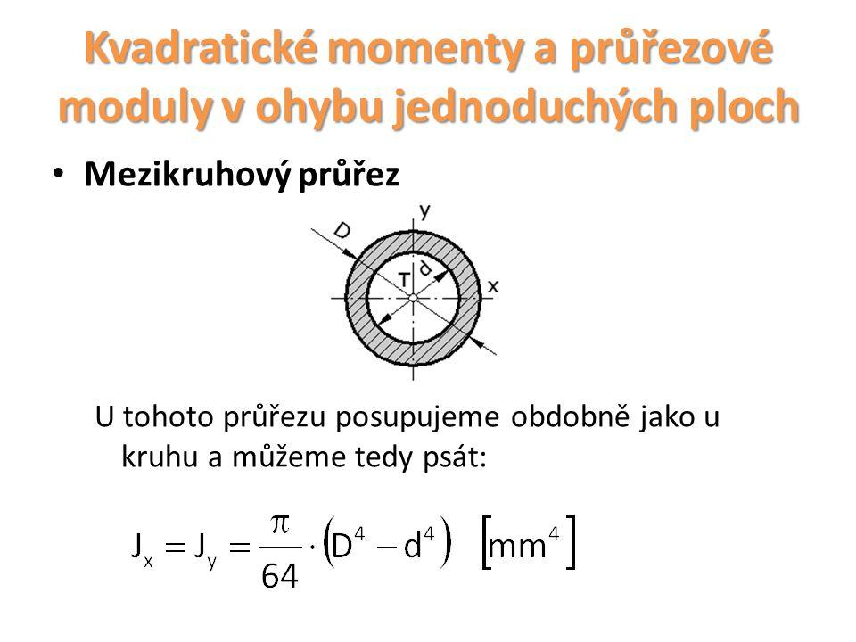 Kvadratické momenty a průřezové moduly v ohybu jednoduchých ploch Mezikruhový průřez U tohoto průřezu posupujeme obdobně jako u kruhu a můžeme tedy ps