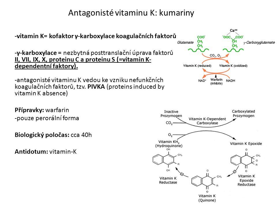-vitamin K= kofaktor γ-karboxylace koagulačních faktorů -γ-karboxylace = nezbytná posttranslační úprava faktorů II, VII, IX, X, proteinu C a proteinu