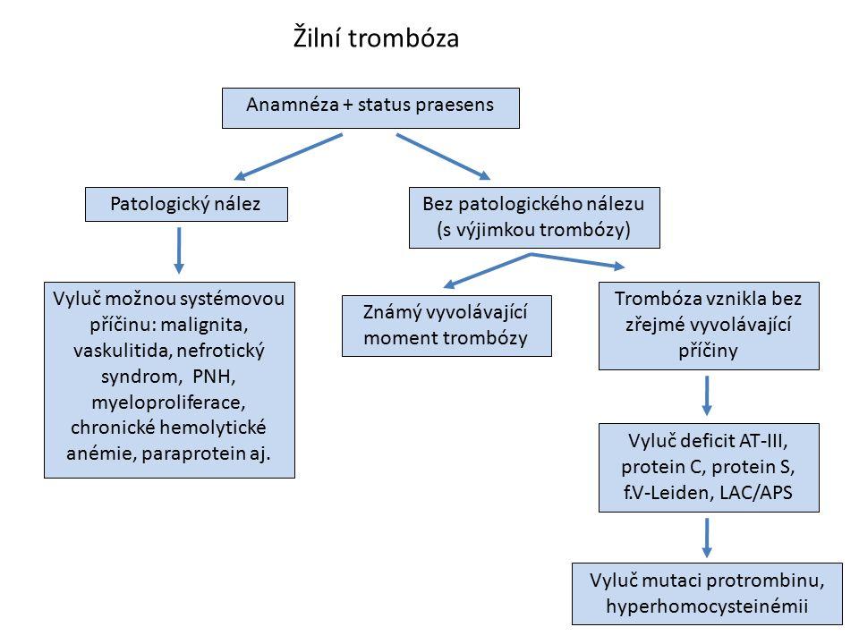 Žilní trombóza Anamnéza + status praesens Patologický nález Vyluč možnou systémovou příčinu: malignita, vaskulitida, nefrotický syndrom, PNH, myelopro