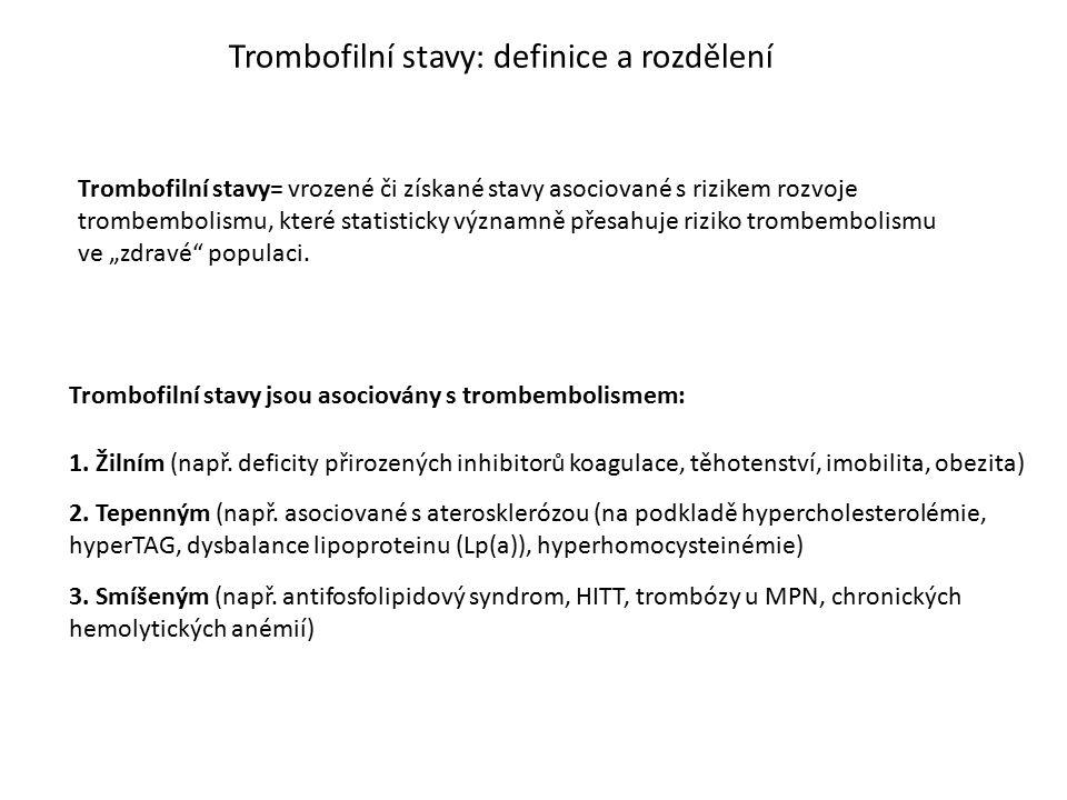 Trombofilní stavy: definice a rozdělení Trombofilní stavy= vrozené či získané stavy asociované s rizikem rozvoje trombembolismu, které statisticky výz