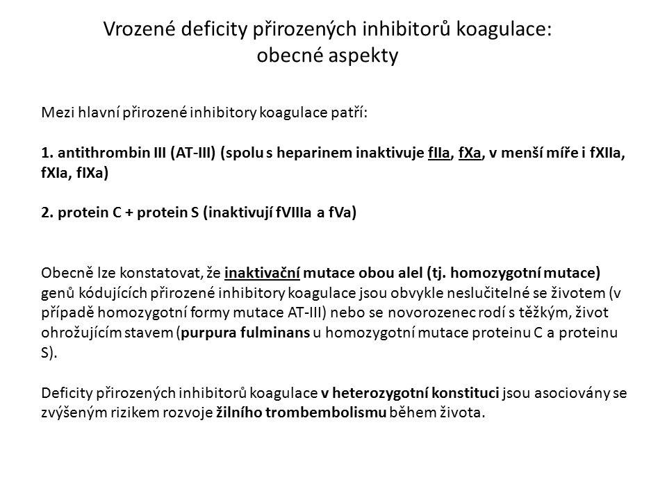 Vrozené deficity přirozených inhibitorů koagulace: obecné aspekty Mezi hlavní přirozené inhibitory koagulace patří: 1. antithrombin III (AT-III) (spol