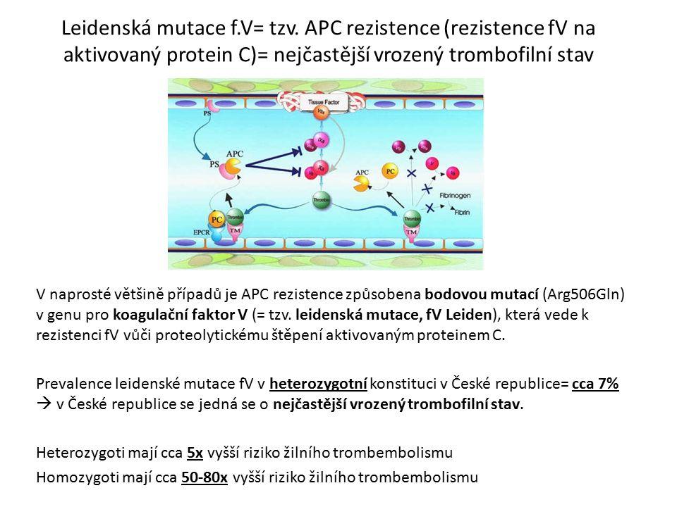 Leidenská mutace f.V= tzv. APC rezistence (rezistence fV na aktivovaný protein C)= nejčastější vrozený trombofilní stav V naprosté většině případů je