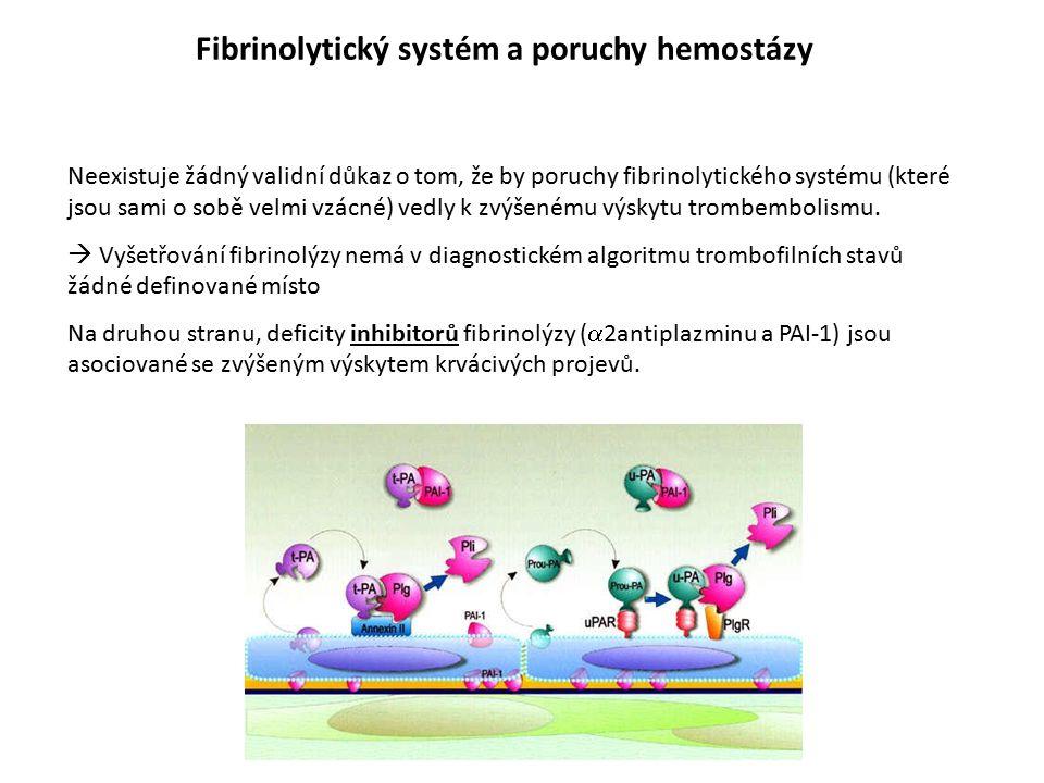 Fibrinolytický systém a poruchy hemostázy Neexistuje žádný validní důkaz o tom, že by poruchy fibrinolytického systému (které jsou sami o sobě velmi v