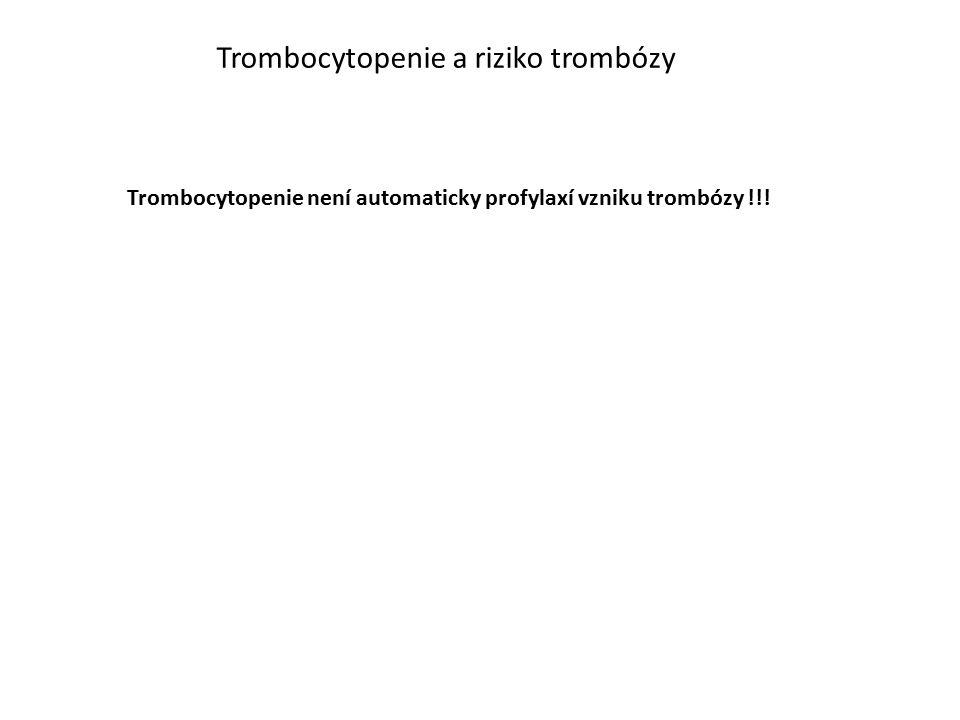 Trombocytopenie a riziko trombózy Trombocytopenie není automaticky profylaxí vzniku trombózy !!!
