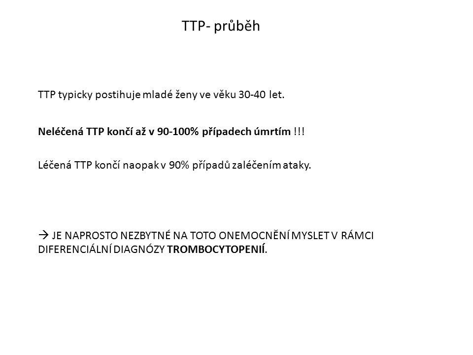 TTP- průběh Neléčená TTP končí až v 90-100% případech úmrtím !!! TTP typicky postihuje mladé ženy ve věku 30-40 let. Léčená TTP končí naopak v 90% pří