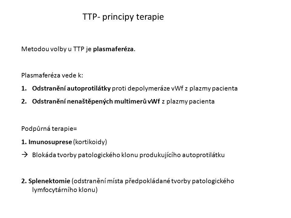 TTP- principy terapie Metodou volby u TTP je plasmaferéza. Plasmaferéza vede k: 1.Odstranění autoprotilátky proti depolymeráze vWf z plazmy pacienta 2