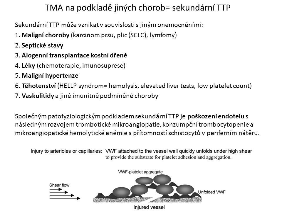 TMA na podkladě jiných chorob= sekundární TTP Sekundární TTP může vznikat v souvislosti s jiným onemocněními: 1. Maligní choroby (karcinom prsu, plic