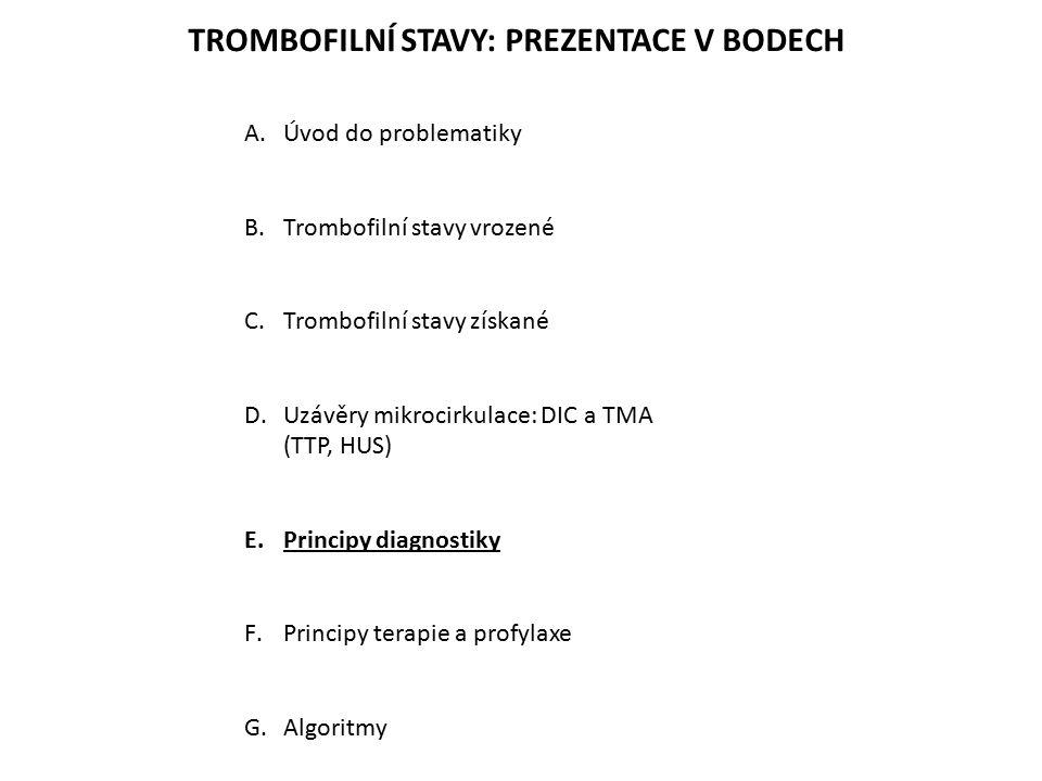 TROMBOFILNÍ STAVY: PREZENTACE V BODECH A.Úvod do problematiky B.Trombofilní stavy vrozené C.Trombofilní stavy získané D.Uzávěry mikrocirkulace: DIC a