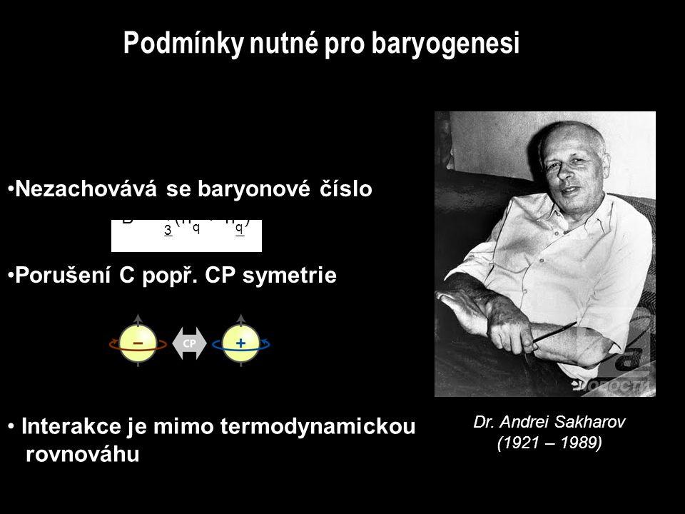 Nezachovává se baryonové číslo Porušení C popř. CP symetrie Interakce je mimo termodynamickou rovnováhu Dr. Andrei Sakharov (1921 – 1989) Podmínky nut