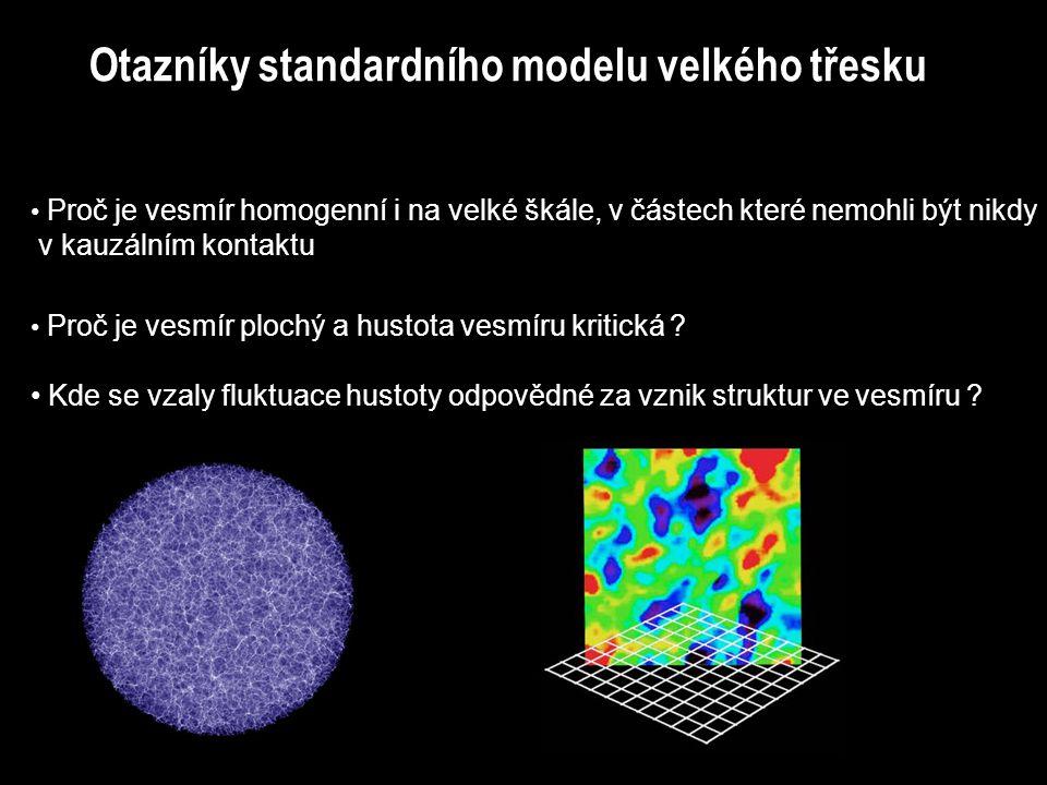 Otazníky standardního modelu velkého třesku Proč je vesmír homogenní i na velké škále, v částech které nemohli být nikdy v kauzálním kontaktu Proč je
