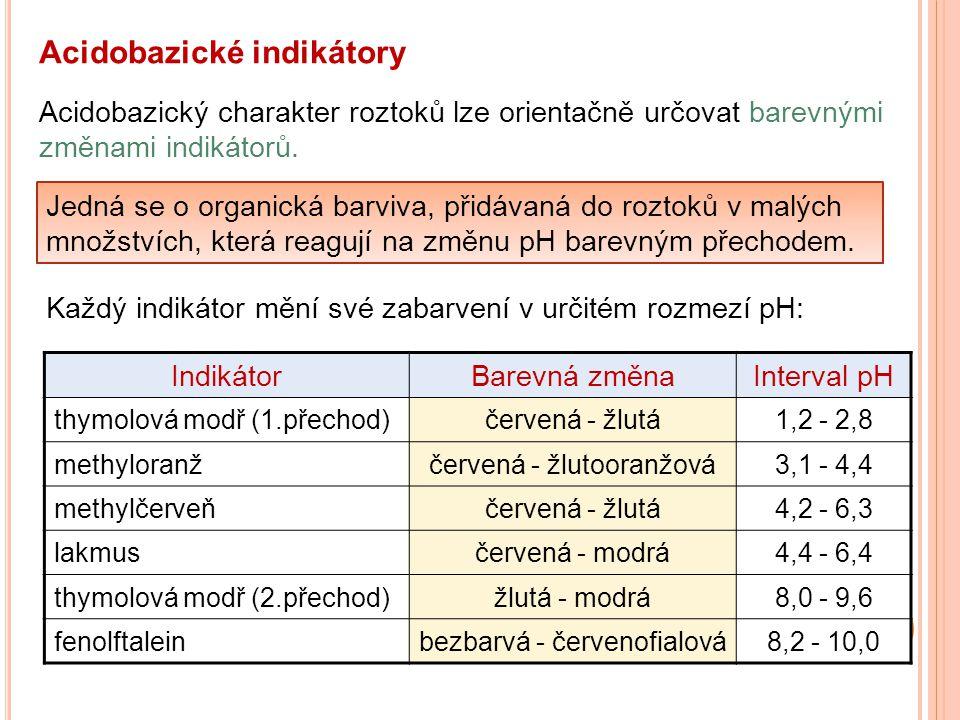 Acidobazické indikátory Acidobazický charakter roztoků lze orientačně určovat barevnými změnami indikátorů. Jedná se o organická barviva, přidávaná do