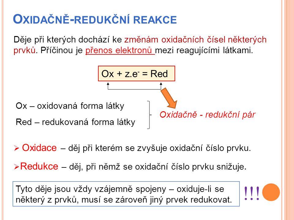 O XIDAČNĚ - REDUKČNÍ REAKCE  Oxidace – děj při kterém se zvyšuje oxidační číslo prvku. Ox + z.e - = Red Děje při kterých dochází ke změnám oxidačních