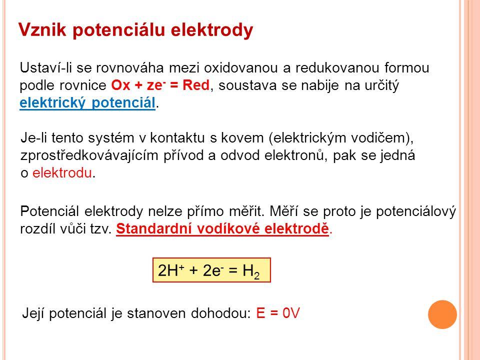 Vznik potenciálu elektrody Ustaví-li se rovnováha mezi oxidovanou a redukovanou formou podle rovnice Ox + ze - = Red, soustava se nabije na určitý elektrický potenciál.