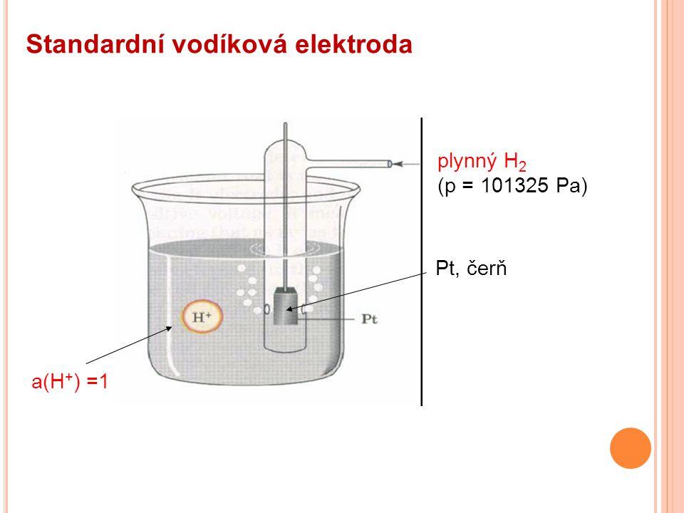 Standardní vodíková elektroda plynný H 2 (p = 101325 Pa) Pt, čerň a(H + ) =1