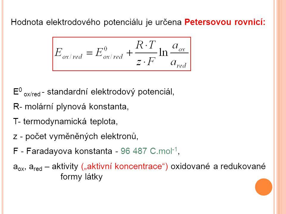 Hodnota elektrodového potenciálu je určena Petersovou rovnicí: E 0 ox/red - standardní elektrodový potenciál, R- molární plynová konstanta, T- termody