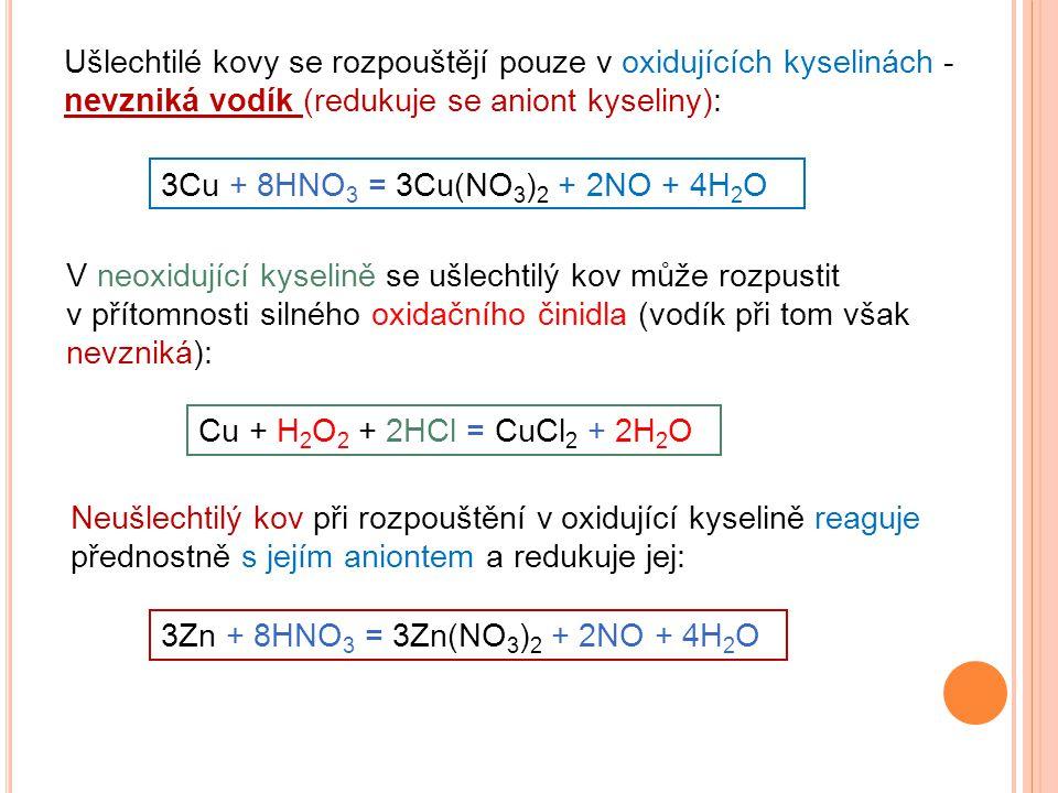 Ušlechtilé kovy se rozpouštějí pouze v oxidujících kyselinách - nevzniká vodík (redukuje se aniont kyseliny): 3Cu + 8HNO 3 = 3Cu(NO 3 ) 2 + 2NO + 4H 2 O V neoxidující kyselině se ušlechtilý kov může rozpustit v přítomnosti silného oxidačního činidla (vodík při tom však nevzniká): Cu + H 2 O 2 + 2HCl = CuCl 2 + 2H 2 O Neušlechtilý kov při rozpouštění v oxidující kyselině reaguje přednostně s jejím aniontem a redukuje jej: 3Zn + 8HNO 3 = 3Zn(NO 3 ) 2 + 2NO + 4H 2 O