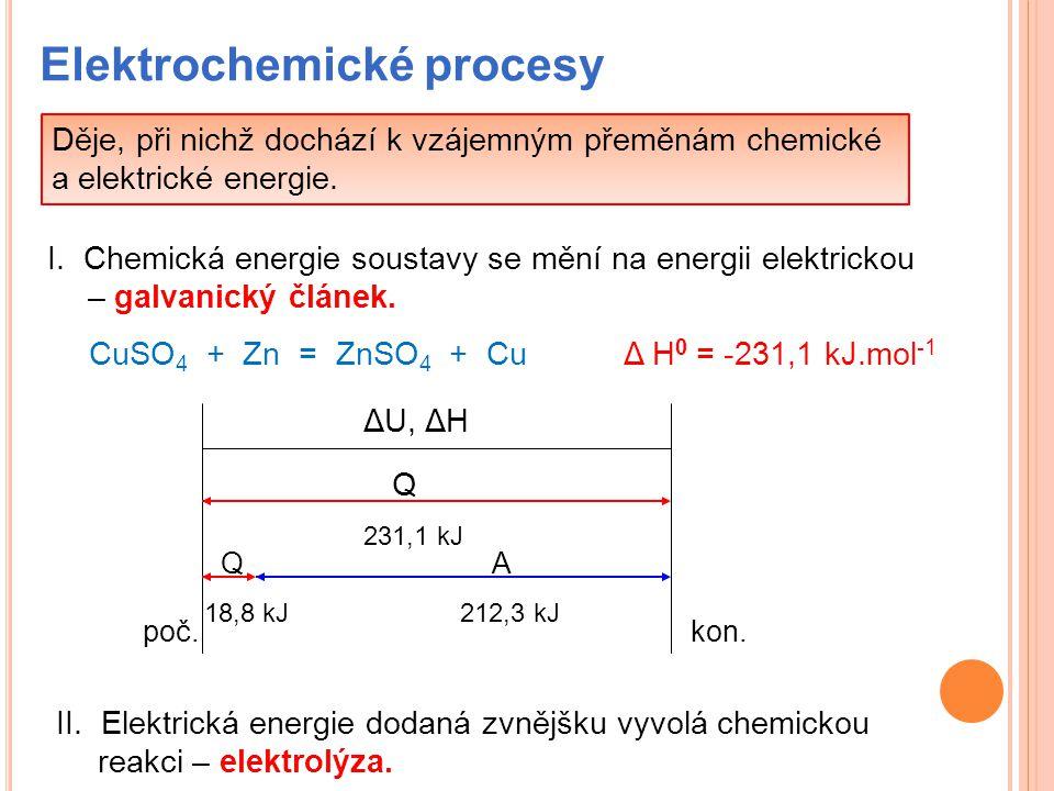 Elektrochemické procesy Děje, při nichž dochází k vzájemným přeměnám chemické a elektrické energie. I. Chemická energie soustavy se mění na energii el