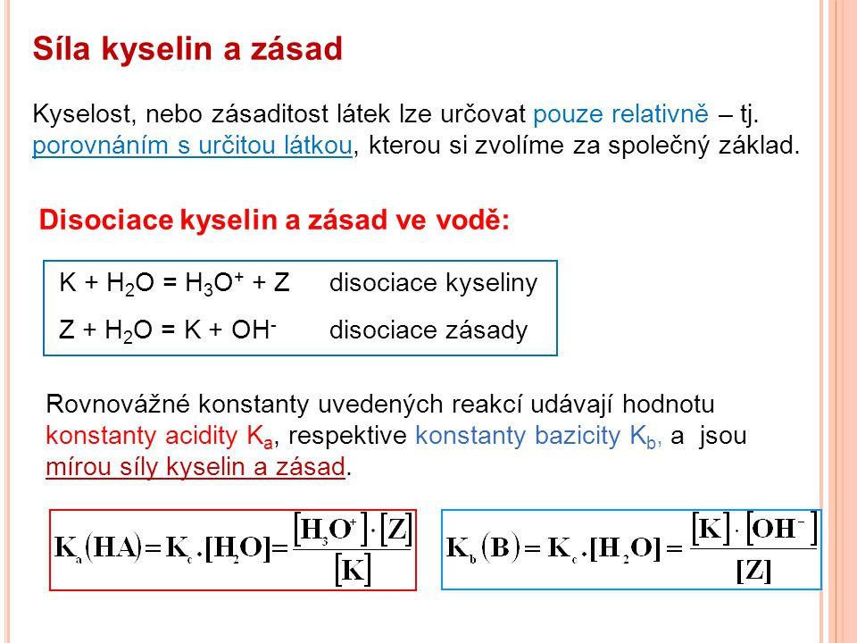 Síla kyselin a zásad Kyselost, nebo zásaditost látek lze určovat pouze relativně – tj. porovnáním s určitou látkou, kterou si zvolíme za společný zákl