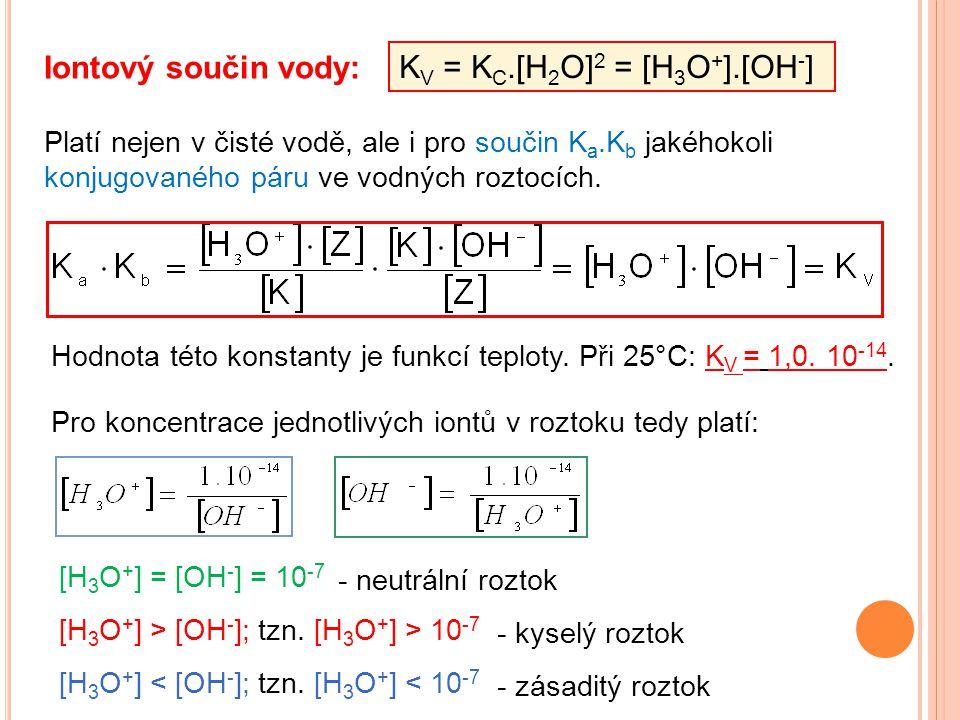 Iontový součin vody: K V = K C.[H 2 O] 2 = [H 3 O + ].[OH - ] Hodnota této konstanty je funkcí teploty. Při 25°C: K V = 1,0. 10 -14. Platí nejen v čis