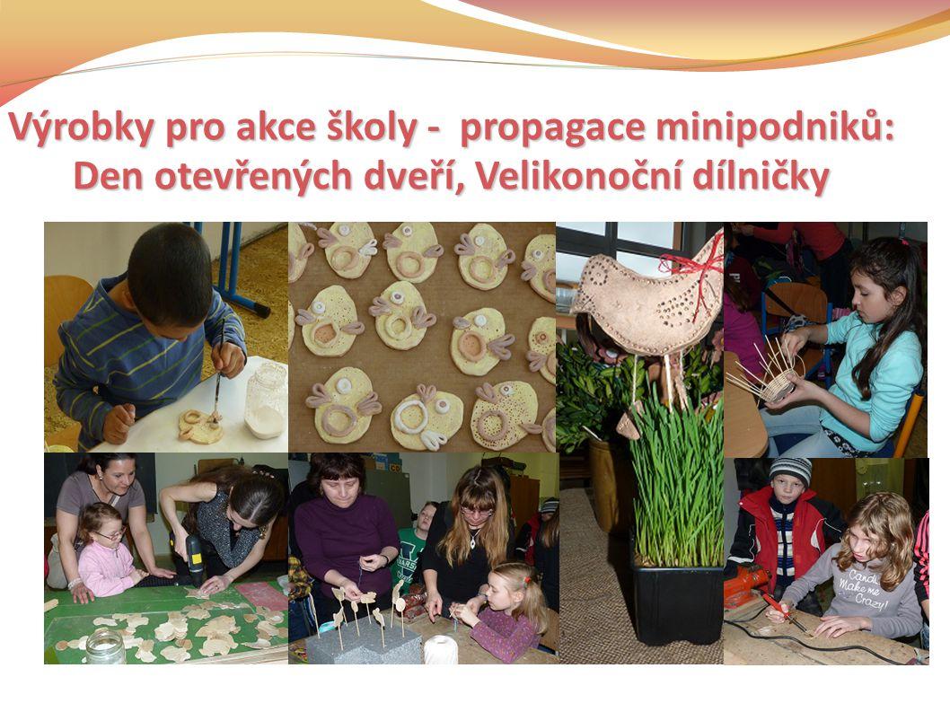 Výrobky pro akce školy - propagace minipodniků: Den otevřených dveří, Velikonoční dílničky