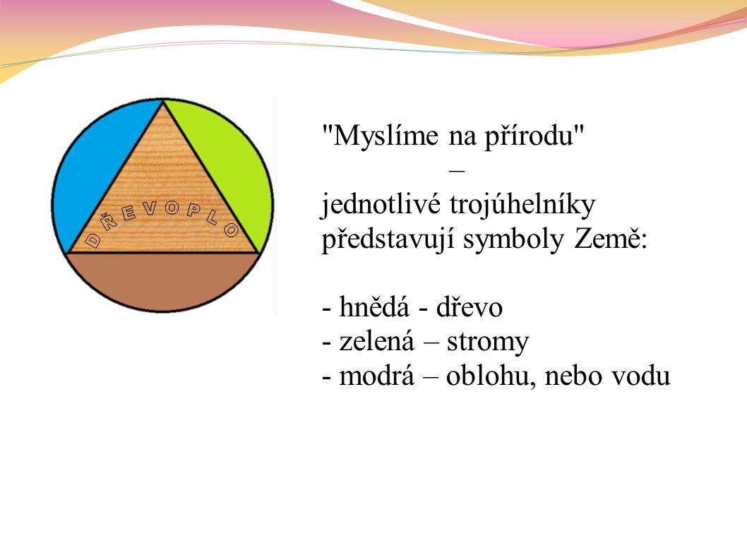 Myslíme na přírodu – jednotlivé trojúhelníky představují symboly Země: - hnědá - dřevo - zelená – stromy - modrá – oblohu, nebo vodu