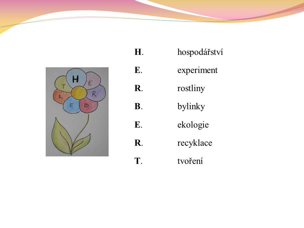 H.hospodářství E.experiment R.rostliny B.bylinky E.ekologie R.recyklace T.tvoření