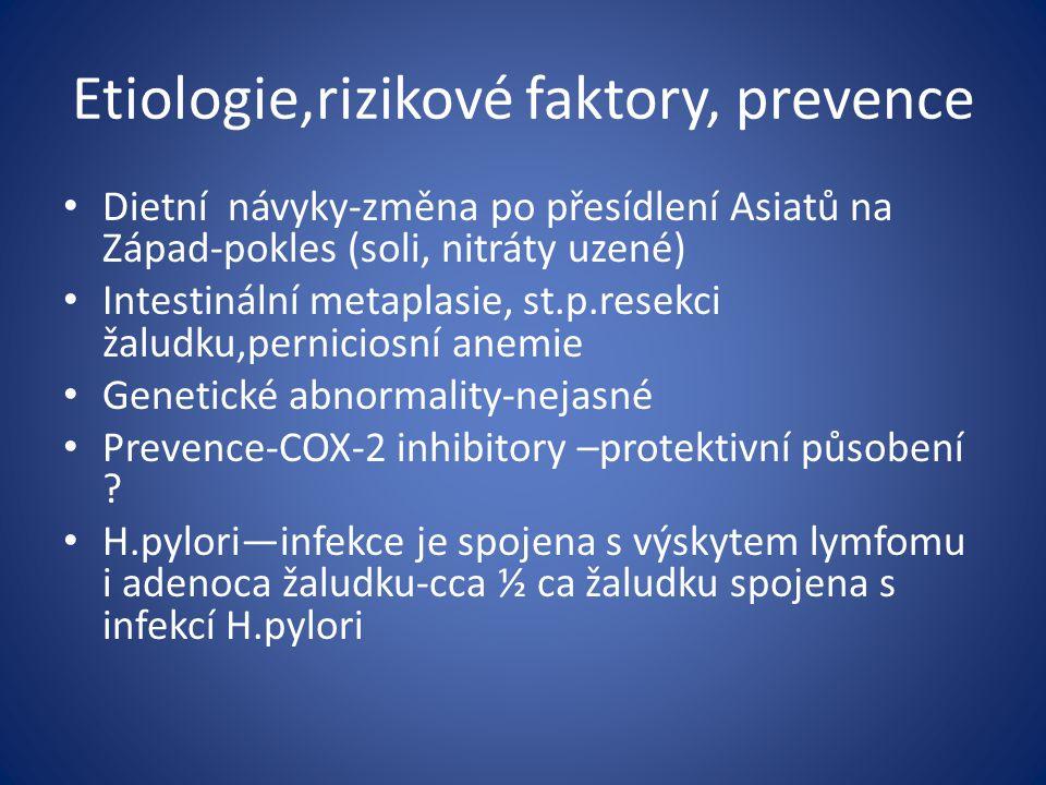 Etiologie,rizikové faktory, prevence Dietní návyky-změna po přesídlení Asiatů na Západ-pokles (soli, nitráty uzené) Intestinální metaplasie, st.p.rese