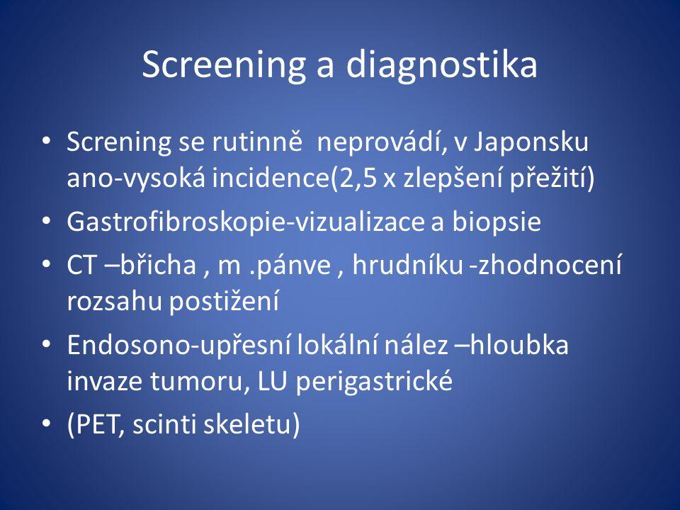 Screening a diagnostika Screning se rutinně neprovádí, v Japonsku ano-vysoká incidence(2,5 x zlepšení přežití) Gastrofibroskopie-vizualizace a biopsie