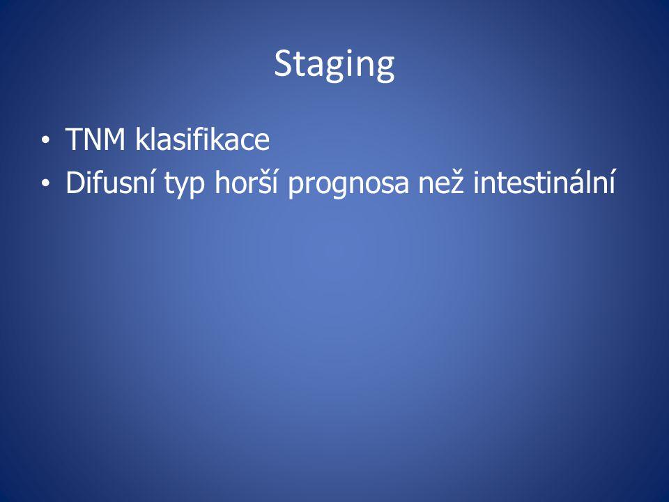 Staging TNM klasifikace Difusní typ horší prognosa než intestinální