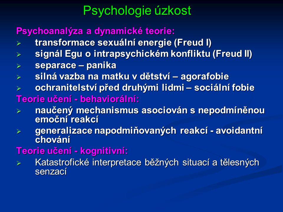Psychologie úzkost Psychoanalýza a dynamické teorie:  transformace sexuální energie (Freud I)  signál Egu o intrapsychickém konfliktu (Freud II)  s