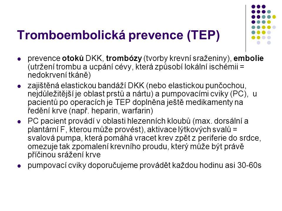 Tromboembolická prevence (TEP) prevence otoků DKK, trombózy (tvorby krevní sraženiny), embolie (utržení trombu a ucpání cévy, která způsobí lokální is
