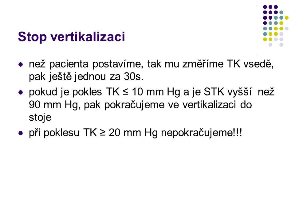 Stop vertikalizaci než pacienta postavíme, tak mu změříme TK vsedě, pak ještě jednou za 30s. pokud je pokles TK ≤ 10 mm Hg a je STK vyšší než 90 mm Hg