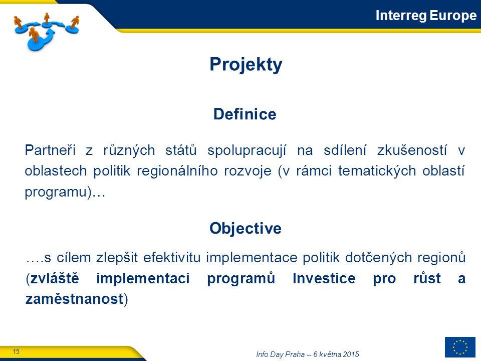 15 Info Day Praha – 6 května 2015 Objective ….s cílem zlepšit efektivitu implementace politik dotčených regionů (zvláště implementaci programů Investice pro růst a zaměstnanost) Partneři z různých států spolupracují na sdílení zkušeností v oblastech politik regionálního rozvoje (v rámci tematických oblastí programu)… Projekty Definice Interreg Europe