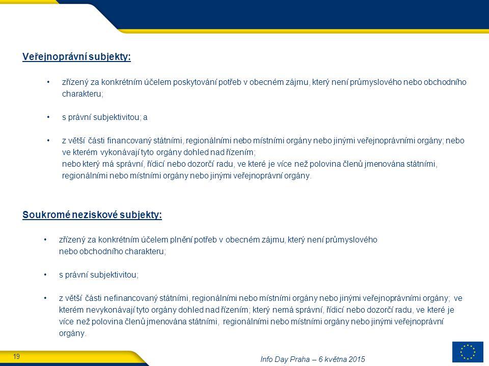19 Info Day Praha – 6 května 2015 Veřejnoprávní subjekty: zřízený za konkrétním účelem poskytování potřeb v obecném zájmu, který není průmyslového nebo obchodního charakteru; s právní subjektivitou; a z větší části financovaný státními, regionálními nebo místními orgány nebo jinými veřejnoprávními orgány; nebo ve kterém vykonávají tyto orgány dohled nad řízením; nebo který má správní, řídicí nebo dozorčí radu, ve které je více než polovina členů jmenována státními, regionálními nebo místními orgány nebo jinými veřejnoprávní orgány.
