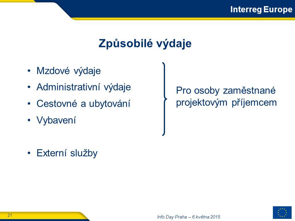 21 Info Day Praha – 6 května 2015 Mzdové výdaje Administrativní výdaje Cestovné a ubytování Vybavení Externí služby Způsobilé výdaje Interreg Europe Pro osoby zaměstnané projektovým příjemcem