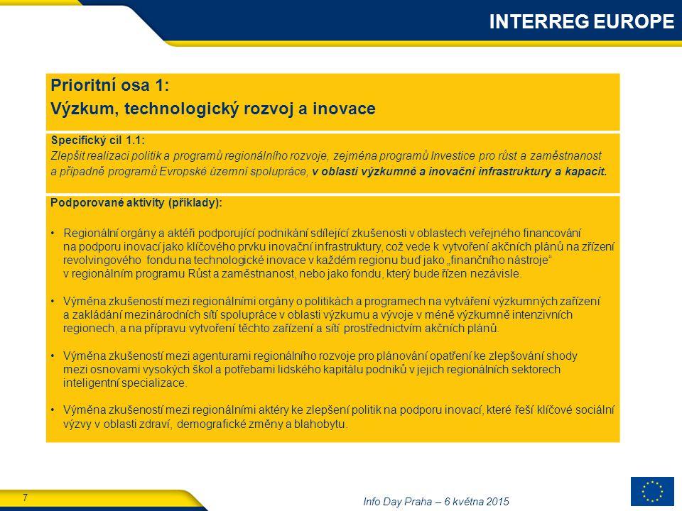7 Info Day Praha – 6 května 2015 Prioritní osa 1: Výzkum, technologický rozvoj a inovace Specifický cíl 1.1: Zlepšit realizaci politik a programů regionálního rozvoje, zejména programů Investice pro růst a zaměstnanost a případně programů Evropské územní spolupráce, v oblasti výzkumné a inovační infrastruktury a kapacit.
