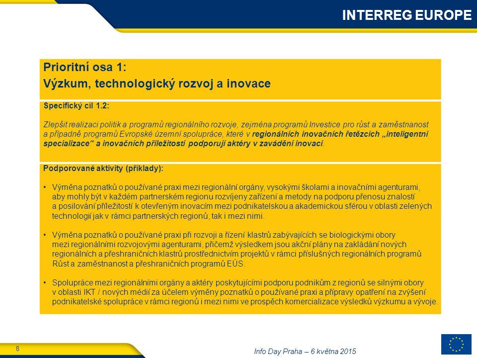 """8 Info Day Praha – 6 května 2015 Prioritní osa 1: Výzkum, technologický rozvoj a inovace Specifický cíl 1.2: Zlepšit realizaci politik a programů regionálního rozvoje, zejména programů Investice pro růst a zaměstnanost a případně programů Evropské územní spolupráce, které v regionálních inovačních řetězcích """"inteligentní specializace a inovačních příležitostí podporují aktéry v zavádění inovací."""
