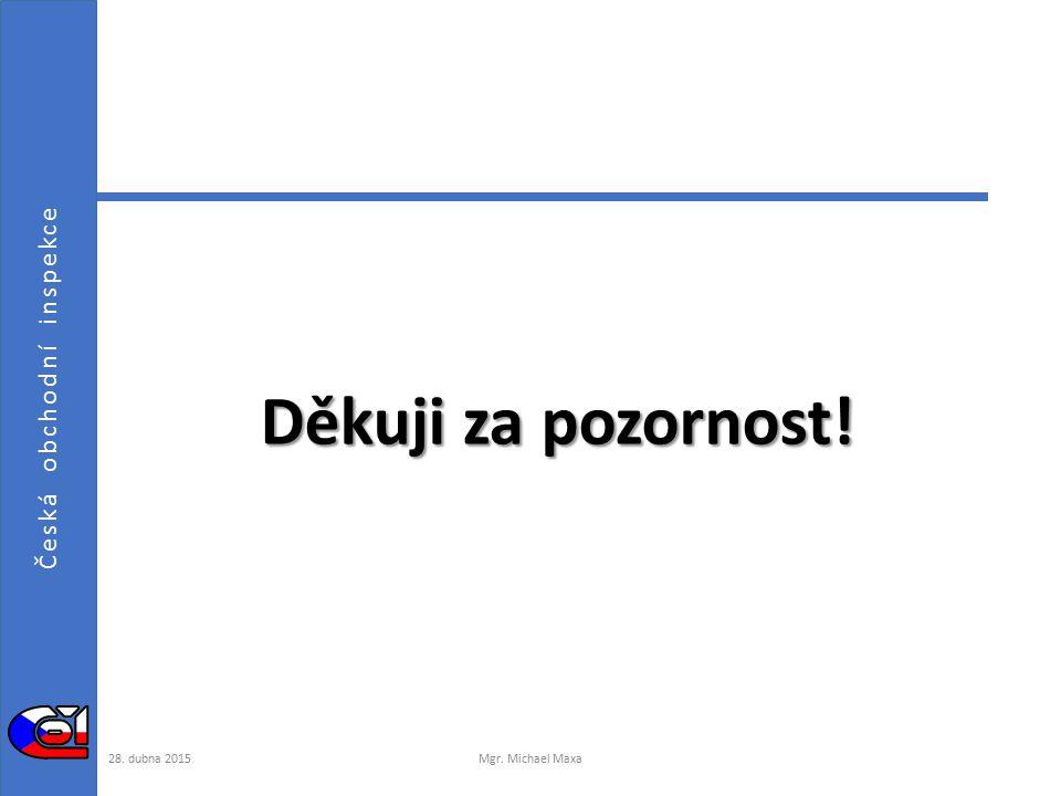 Česká obchodní inspekce Děkuji za pozornost! 28. dubna 2015Mgr. Michael Maxa
