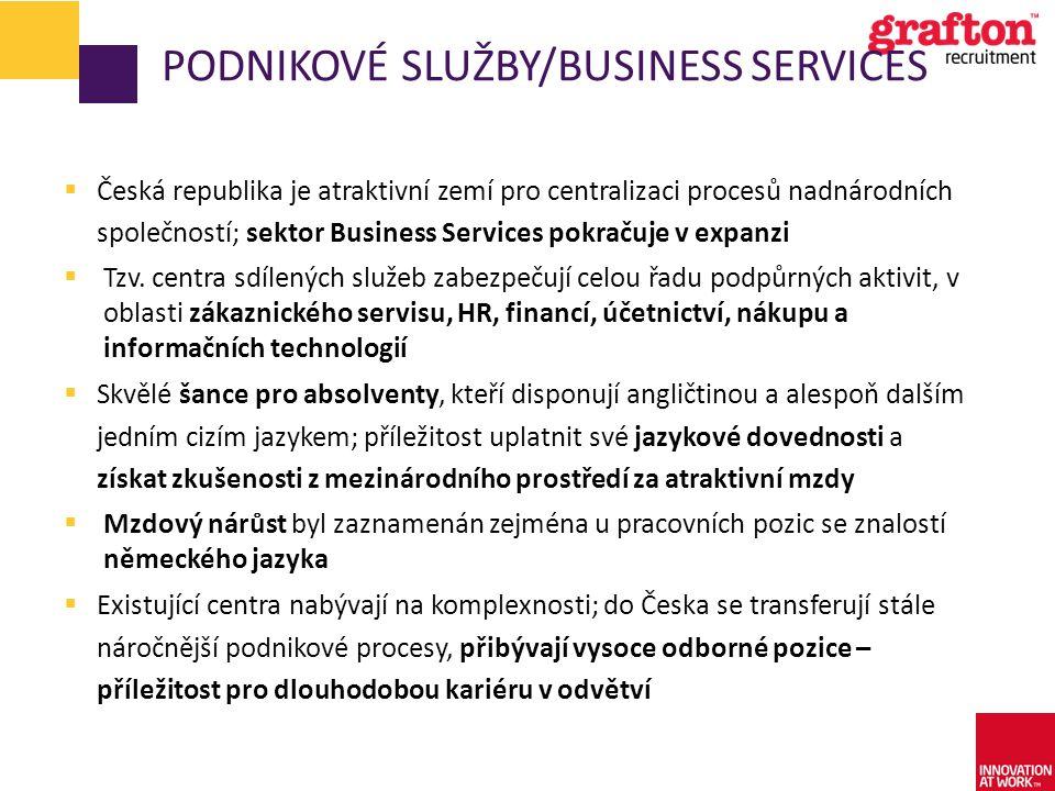 PODNIKOVÉ SLUŽBY/BUSINESS SERVICES  Česká republika je atraktivní zemí pro centralizaci procesů nadnárodních společností; sektor Business Services po