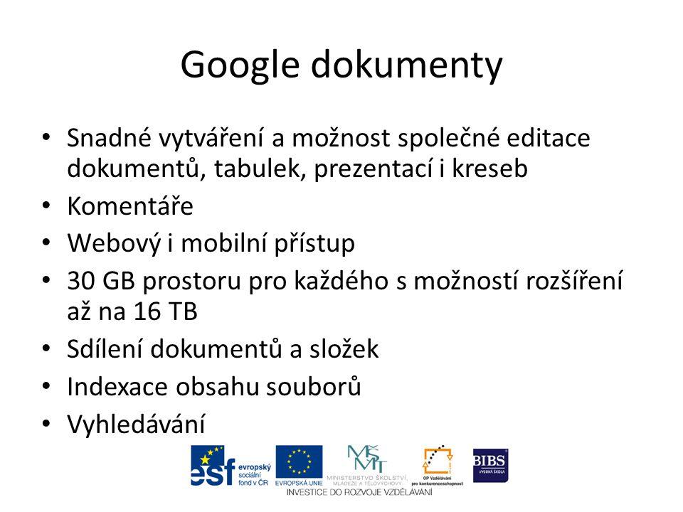 Snadné vytváření a možnost společné editace dokumentů, tabulek, prezentací i kreseb Komentáře Webový i mobilní přístup 30 GB prostoru pro každého s možností rozšíření až na 16 TB Sdílení dokumentů a složek Indexace obsahu souborů Vyhledávání
