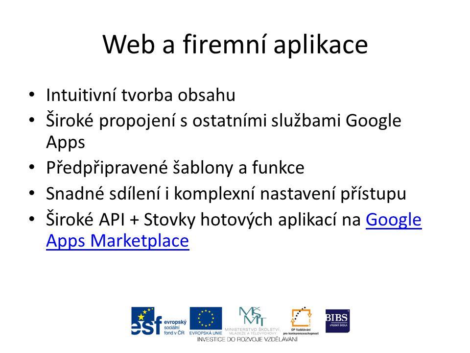 Intuitivní tvorba obsahu Široké propojení s ostatními službami Google Apps Předpřipravené šablony a funkce Snadné sdílení i komplexní nastavení přístupu Široké API + Stovky hotových aplikací na Google Apps MarketplaceGoogle Apps Marketplace
